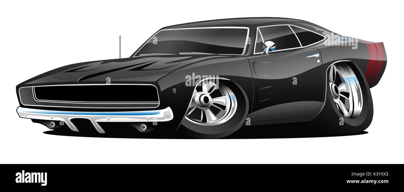 Classic American Black Muscle Car Cartoon Illustration Stock Photo