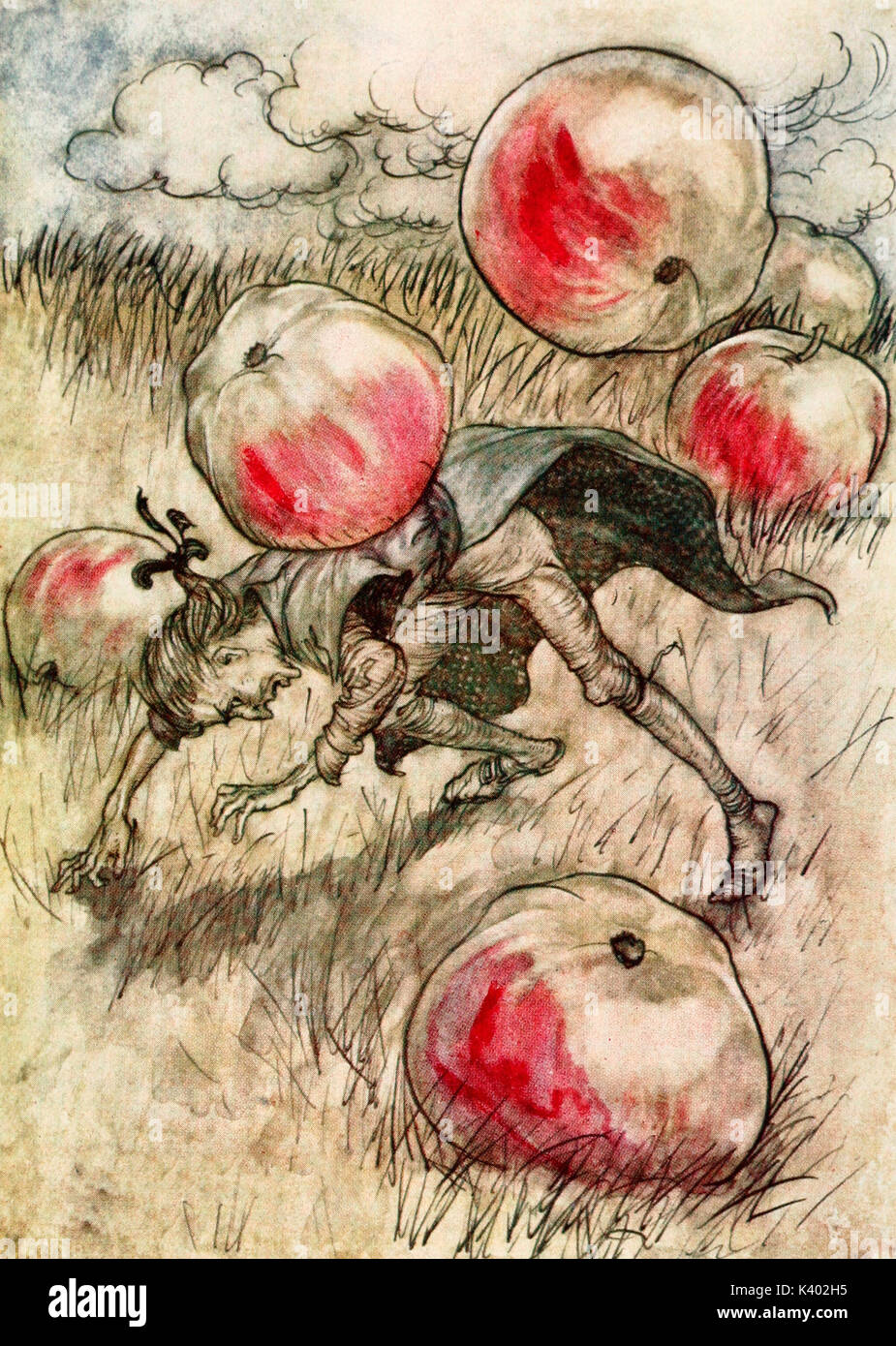 Apples came tumbling about my ears - Scene from Gulliver's Travels - Stock Image