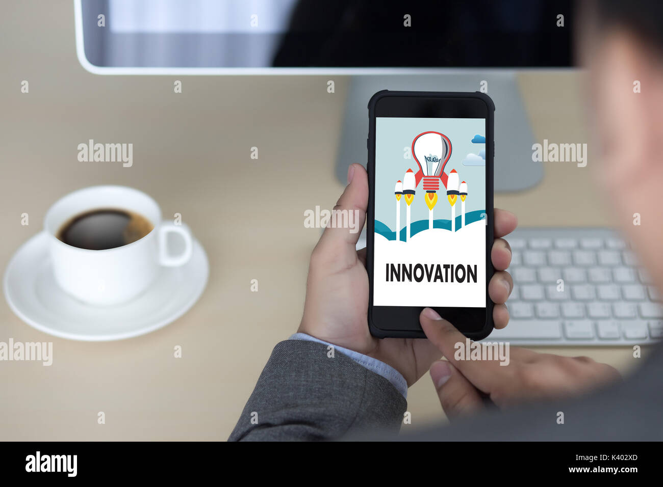 INNOVATION think creative ideas Invent Knowledge Creative process - Stock Image