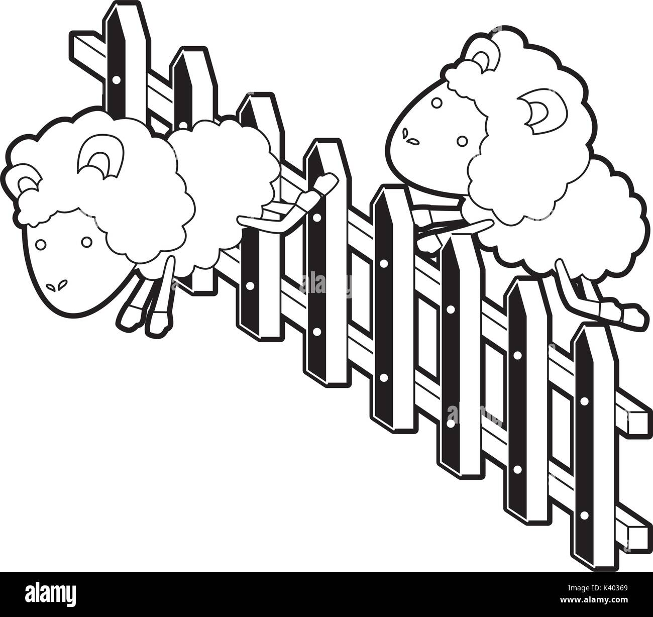 sheep animal couple jumping a wooden fence black color section silhouette on white background - Stock Vector