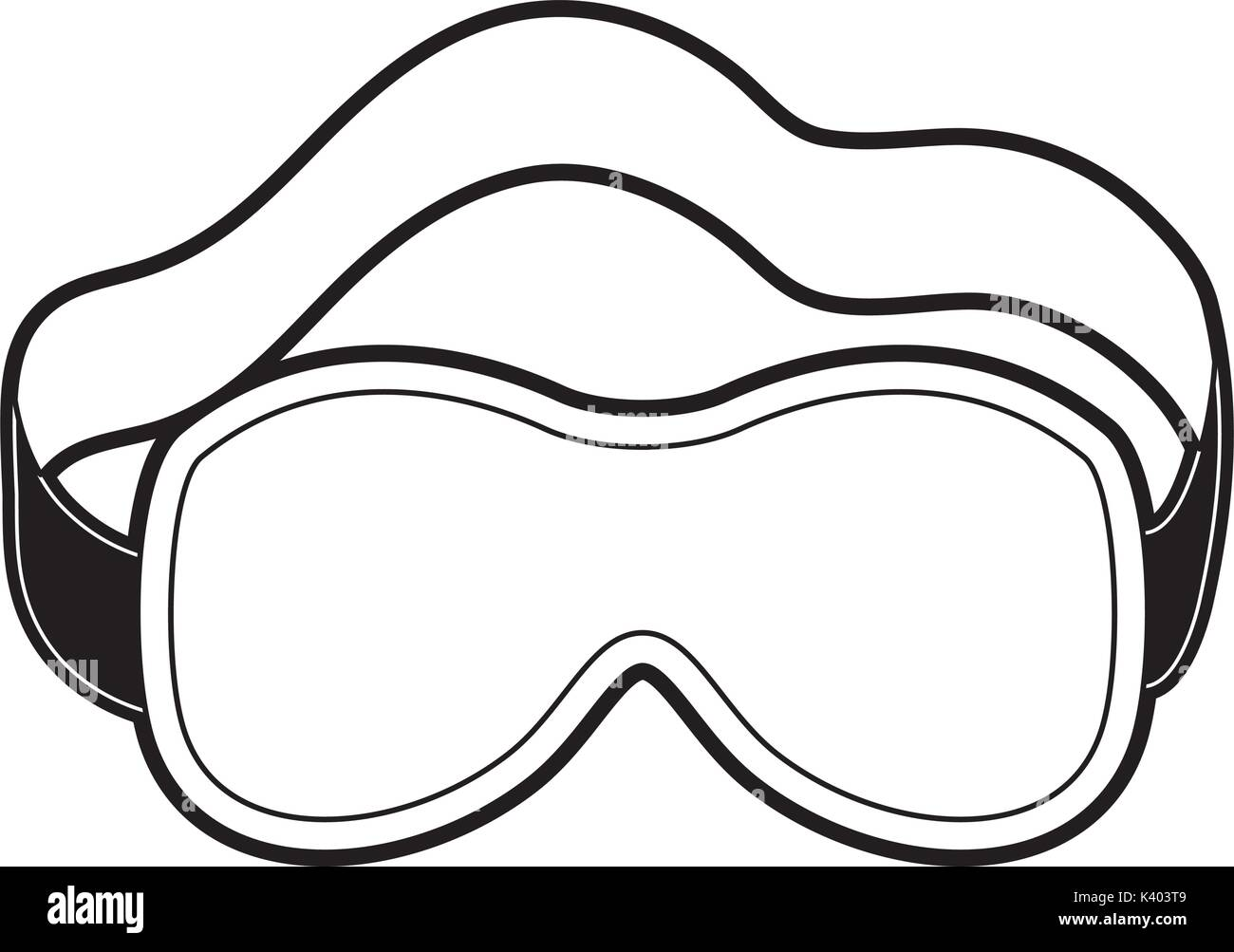 ef3b9ae3368 sleep mask black color section silhouette on white background - Stock Vector