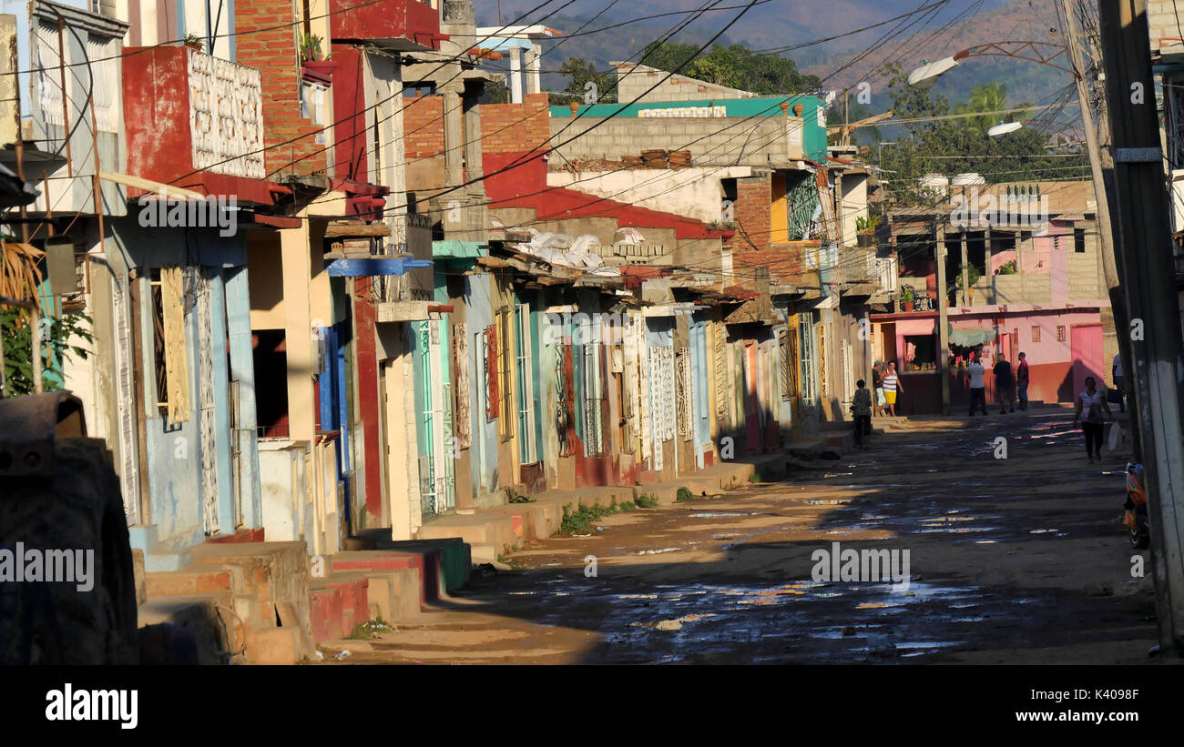Unpaved, colorful street in Trinidad, Cuba - Stock Image