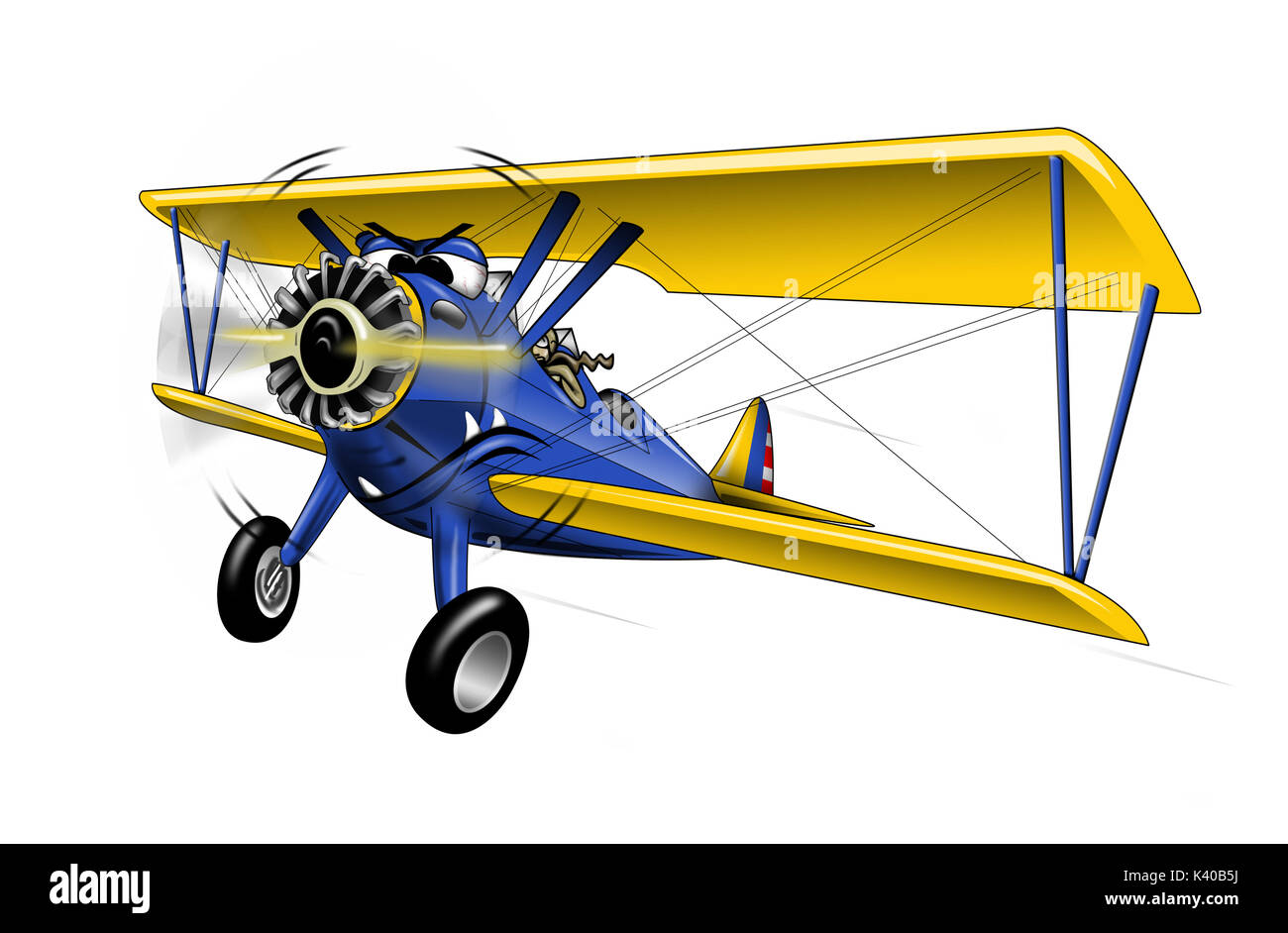 WWI Bi-plane Warbird Cartoon Illustration - Stock Image
