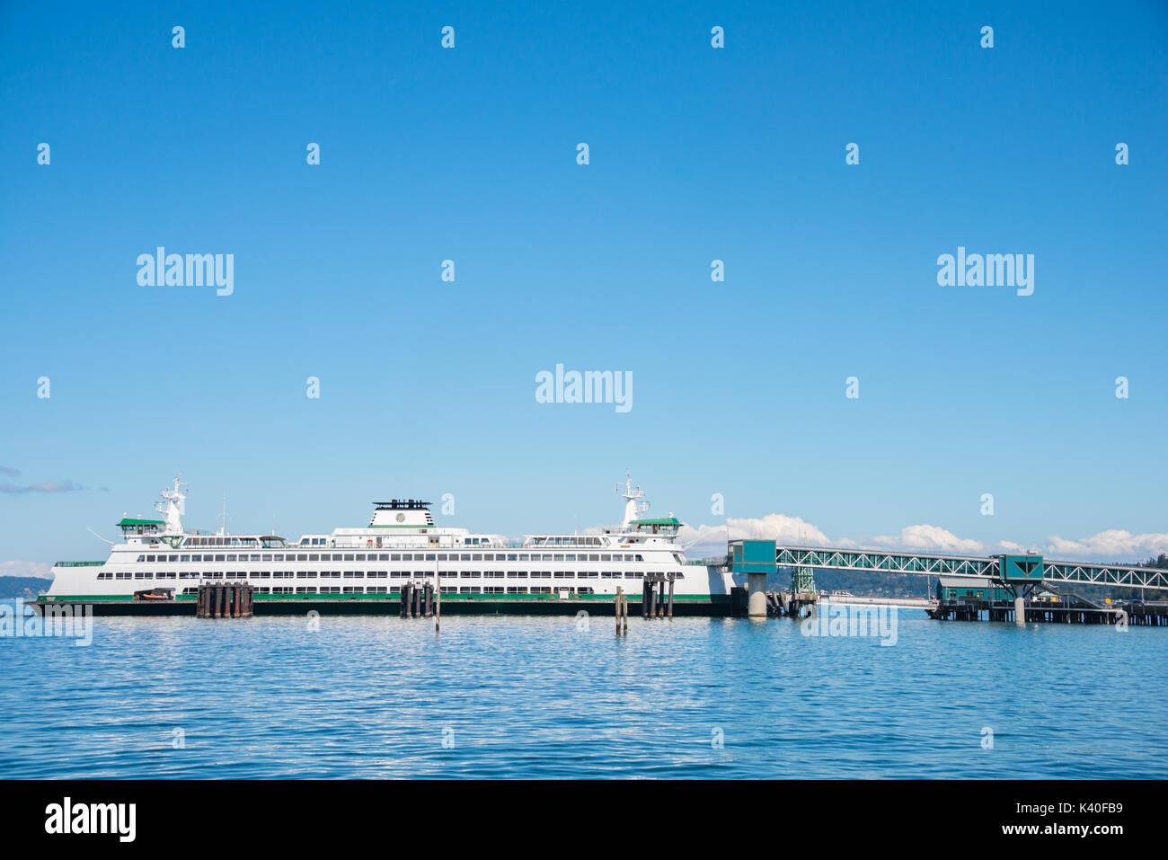 Washington State Car Ferry at Dock Edmonds Washington - Stock Image