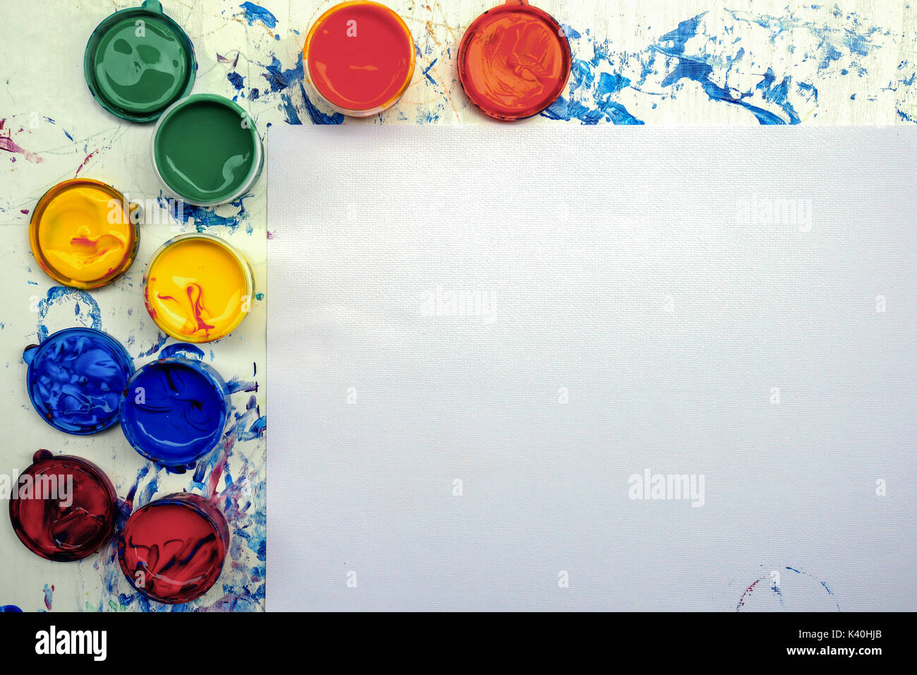 Painting equipment with copy space on white paper texture for Presentations with paint pallete bright colorStock Photo