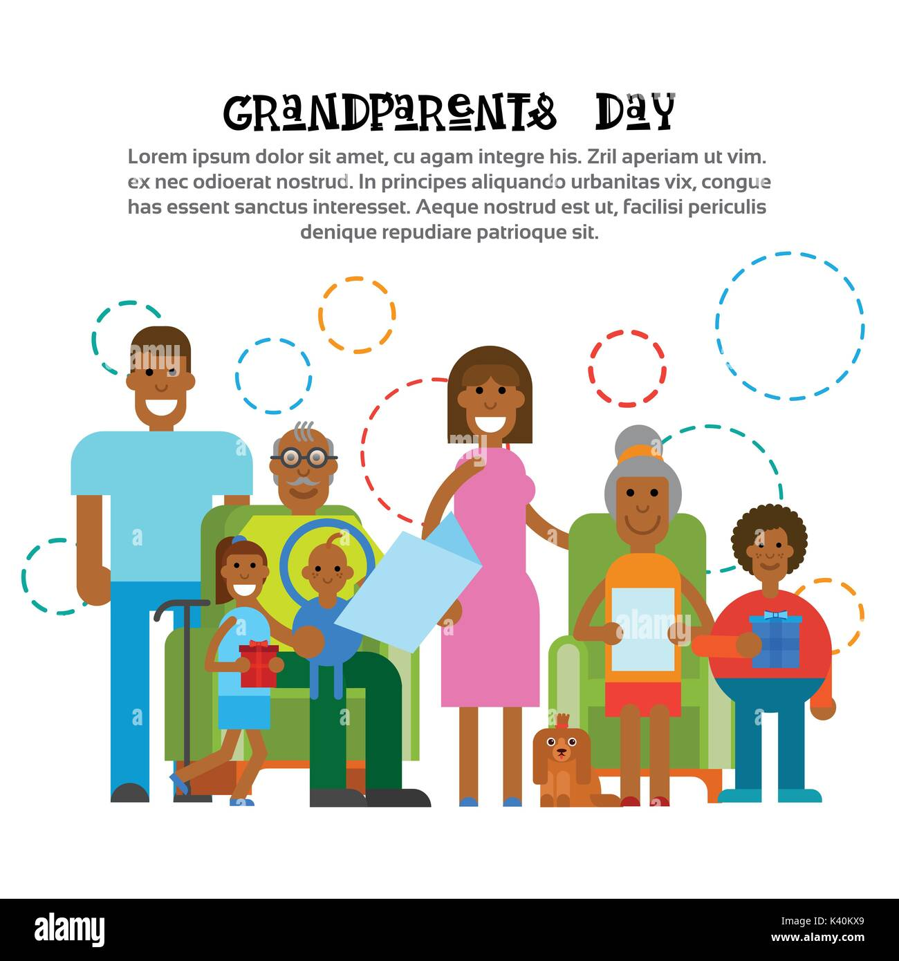 African american family together happy grandparents day greeting african american family together happy grandparents day greeting card banner m4hsunfo