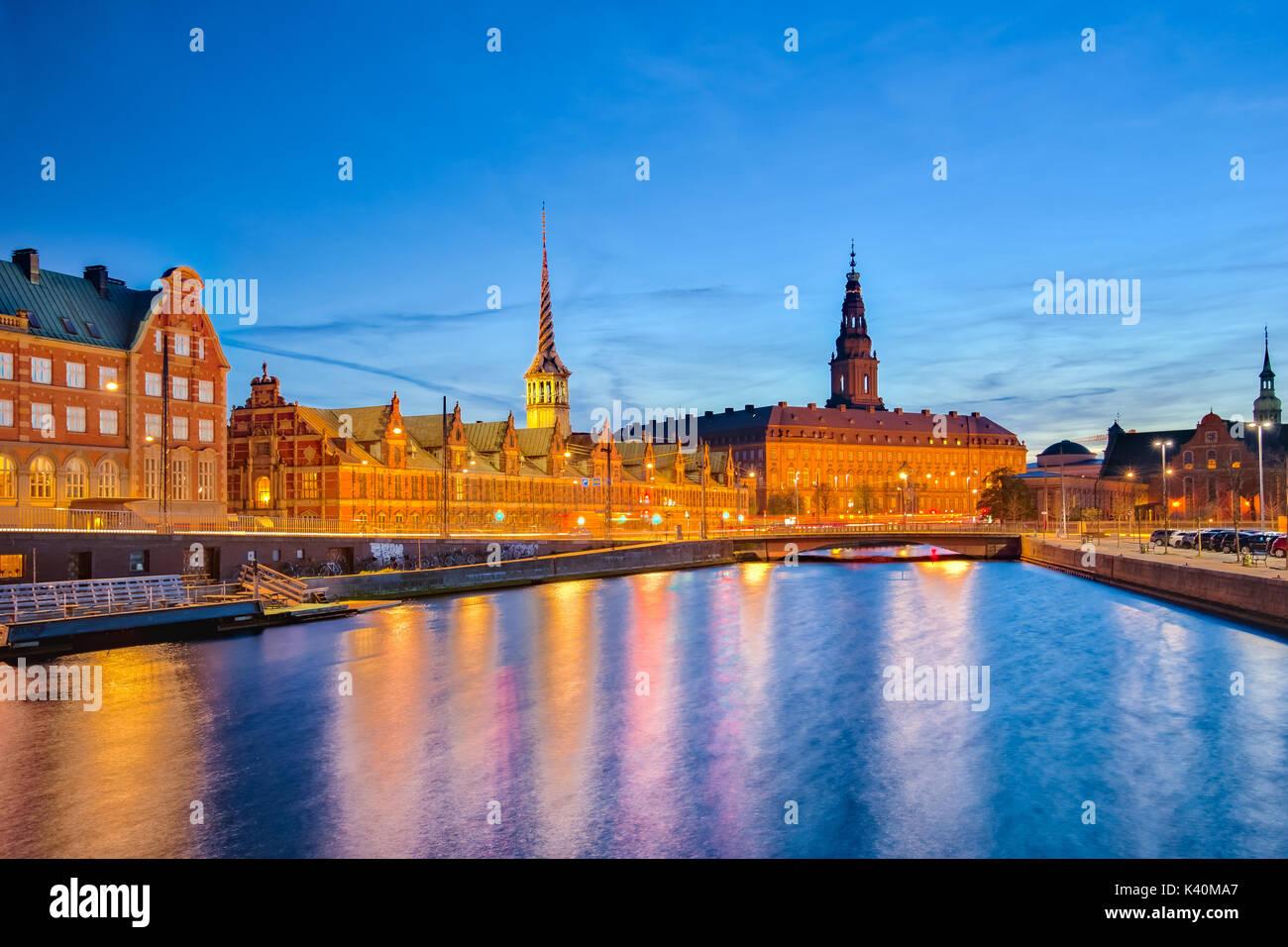 Copenhagen Cityscape with Christiansborg Palace at night in Copenhagen, Denmark. - Stock Image