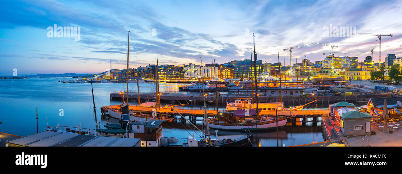 Port of Oslo city in Norway. - Stock Image