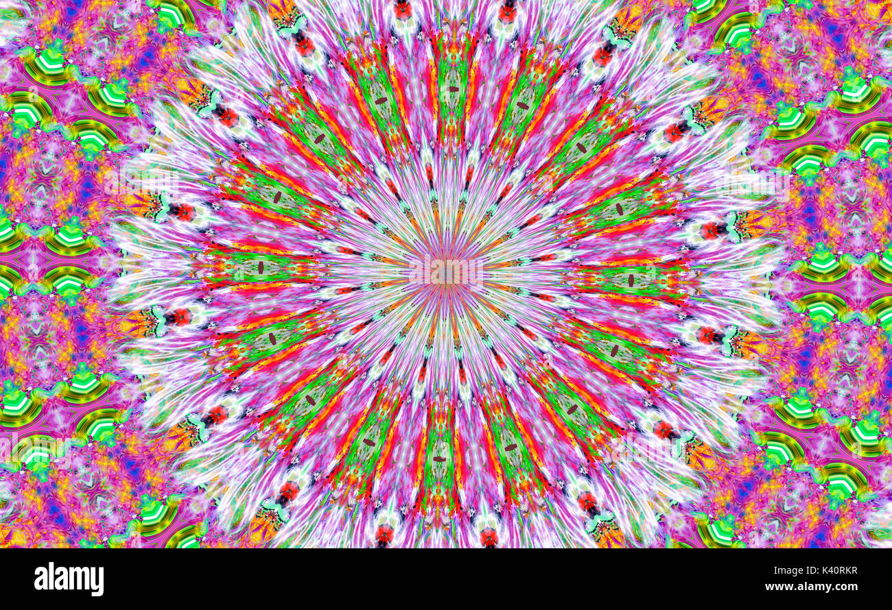 Brightly colored, psychedelic kaleidoscope pattern - Stock Image