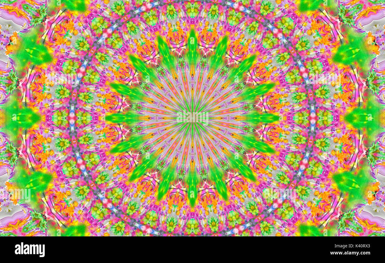 Green Psychedelic Kaleidoscope Background Pattern - Stock Image