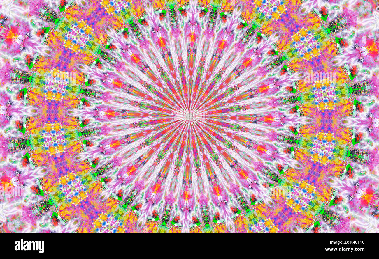 Brightly colored psychedelic Kaleidoscope Pattern - Stock Image