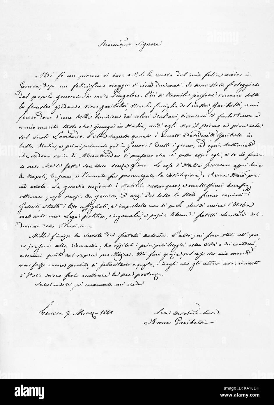 Ancient letter hand written in splendid traditional calligraphy using pen and inkwell. Reproduction of a letter from Anita to Stefano Antonini published on Garibaldi e i Suoi Tempi Milan Italy 1884 - Stock Image