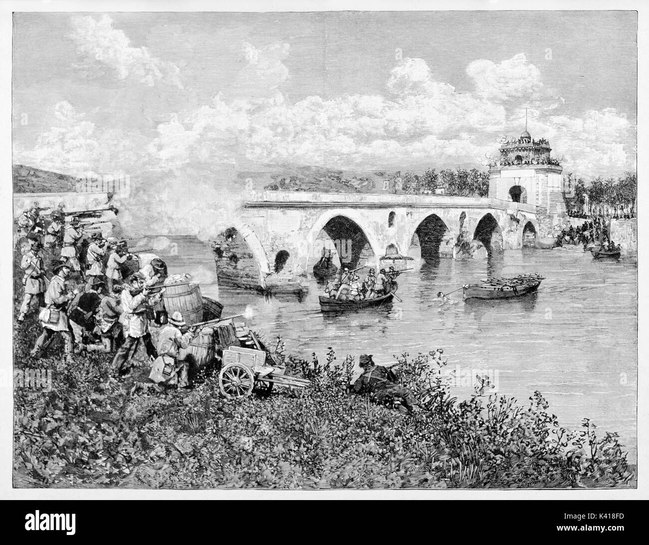 Ancient troops try to conquer a bridge and the opposite shore, fighting and bombing the enemies. Milvian Bridge battle (Rome 1849). By E. Matania published on Garibaldi e i Suoi Tempi Milan Italy 1884 - Stock Image