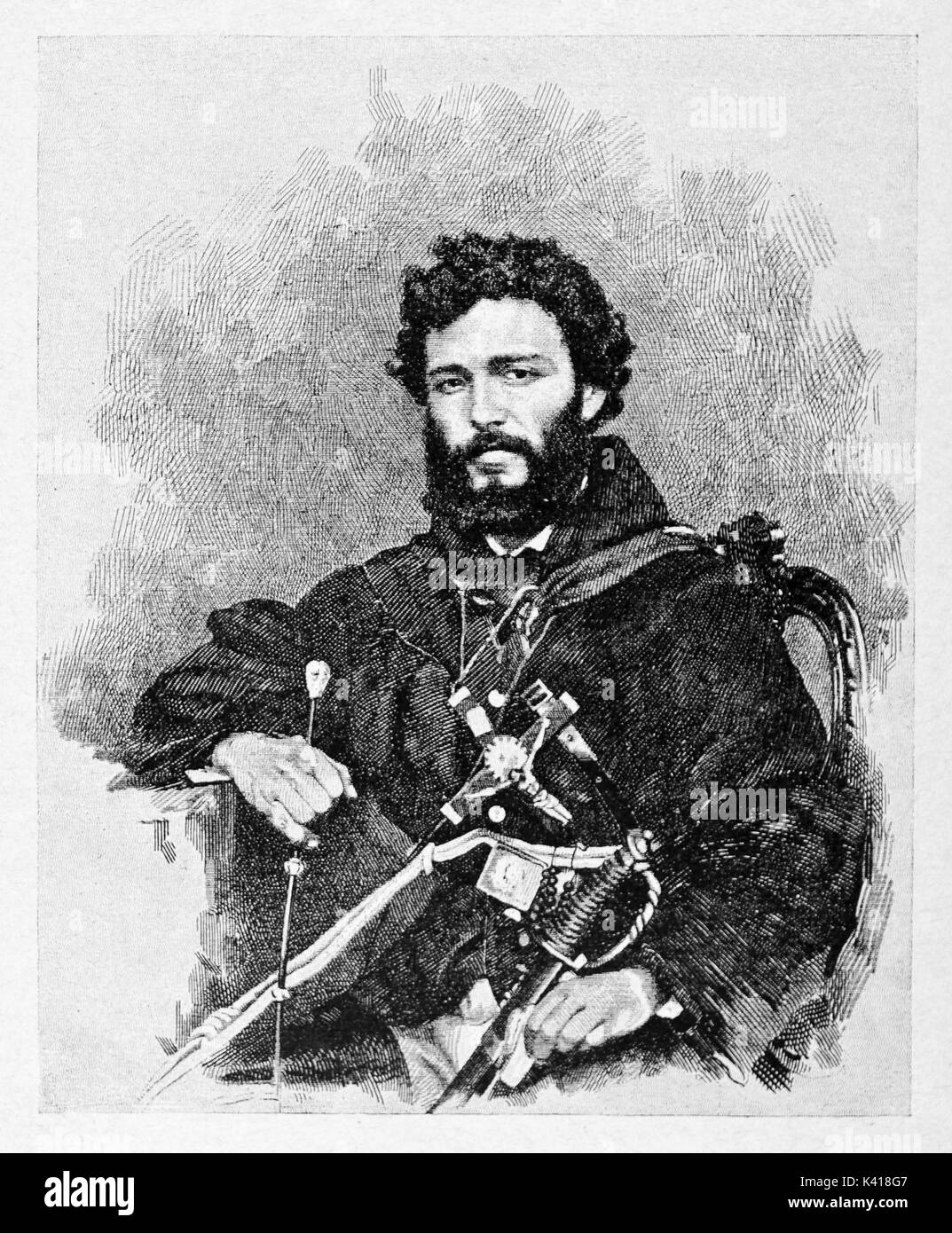 Portrait of an ancient young revolutionary soldier with black beard. Friar Pantaleo (1831 - 1879) Italian monk and patriot. By E. Matania published on Garibaldi e i Suoi Tempi Milan Italy 1884 - Stock Image
