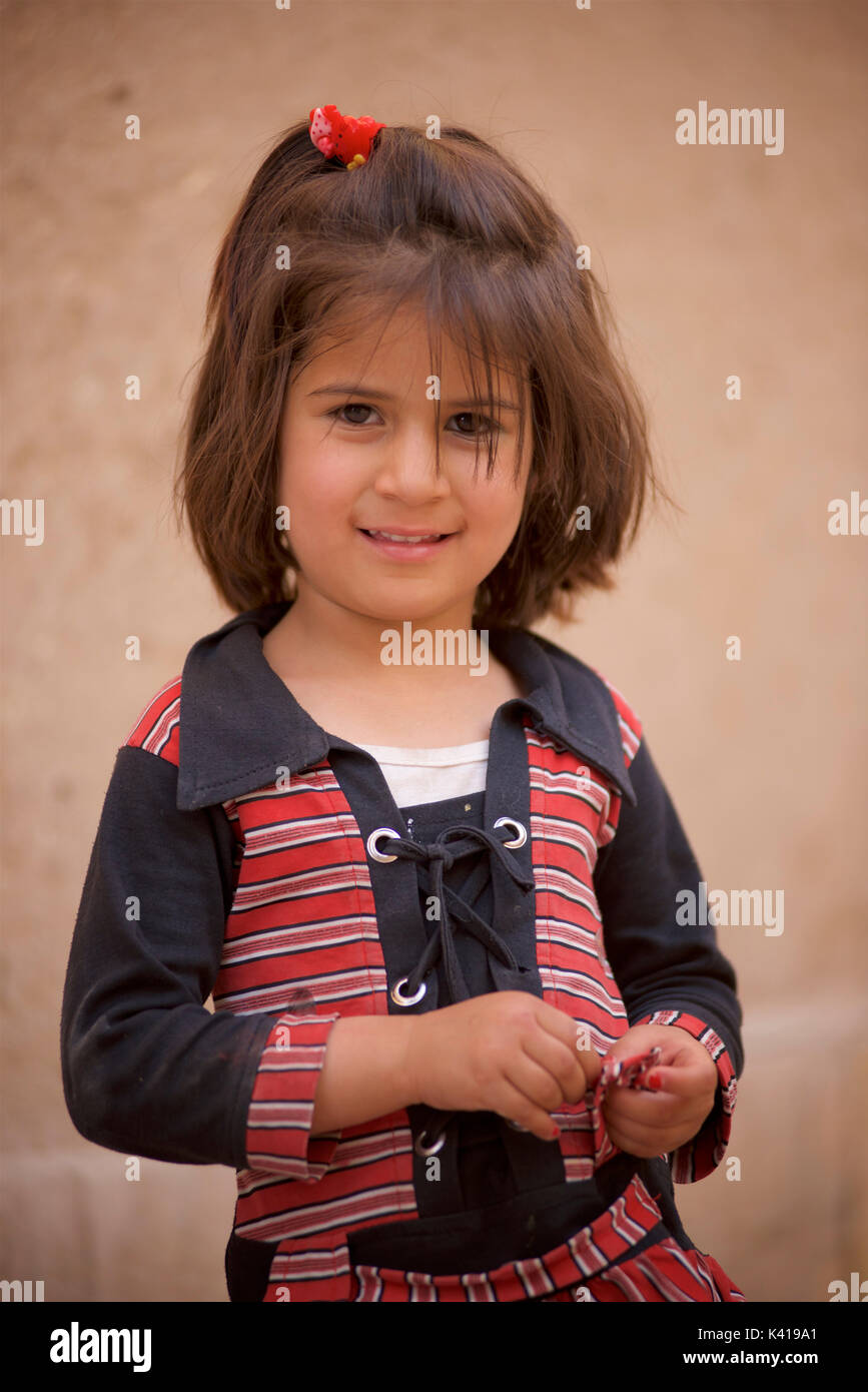 Portrait of an Iranian girl from Yazd - Stock Image