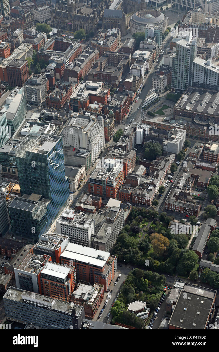 aerial view of Quay Street & Oxford Street, Manchester, UK - Stock Image