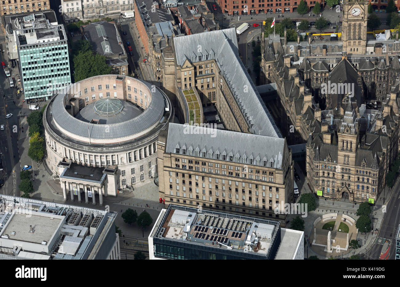 aerial view of Manchester Central Library - Stock Image