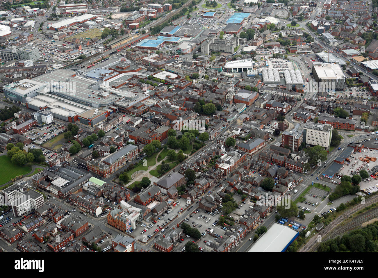 aerial view of Warrington town centre including Palmyra Square, UK - Stock Image