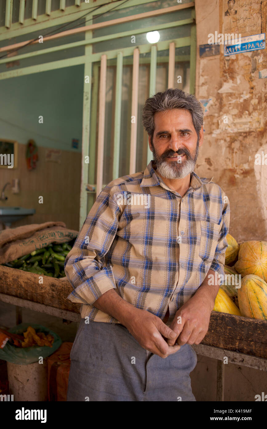 Iranian fruit and vegetable seller, Yazd, Iran - Stock Image