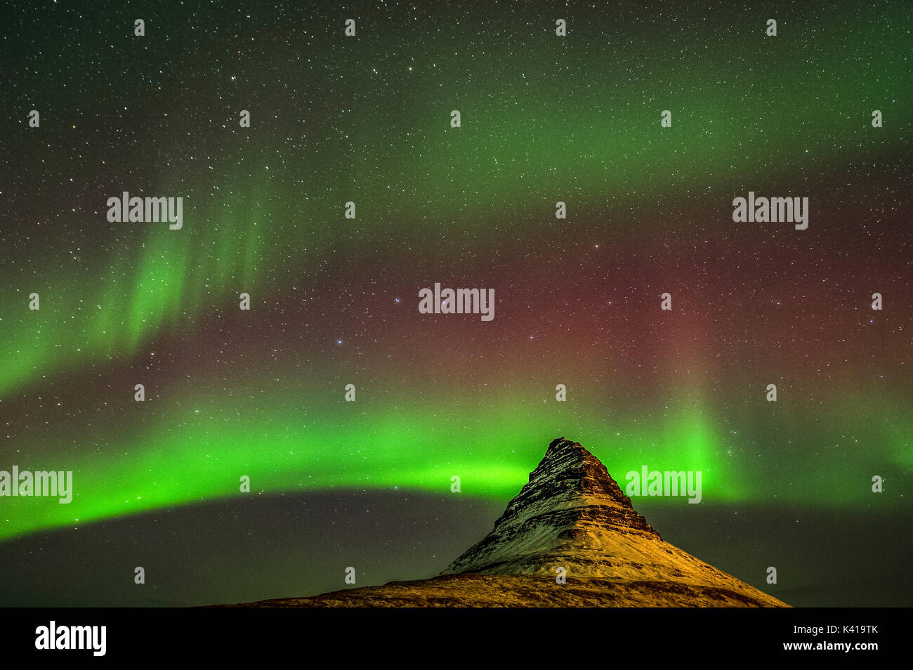 Kirkjufell and Aurora in Iceland - Stock Image