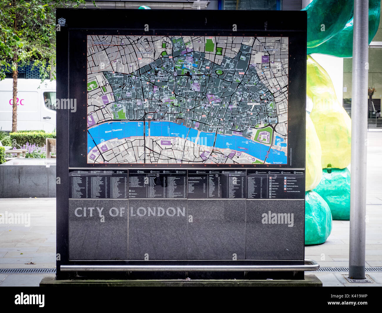 a large street map of the city of london square mile financial district outside fenchurch street train station london uk
