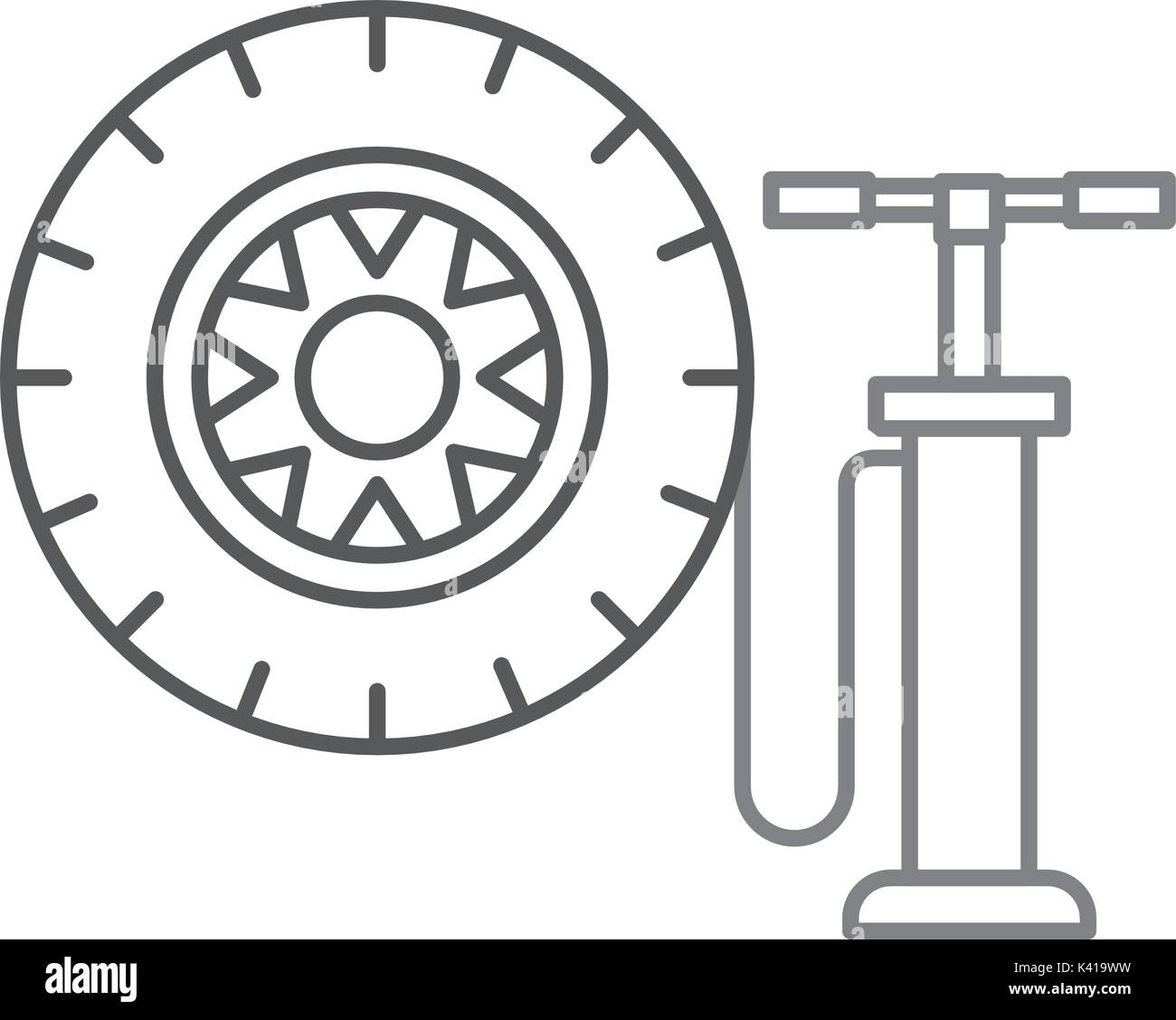 hand pump with car wheel pressure air instrument - Stock Image