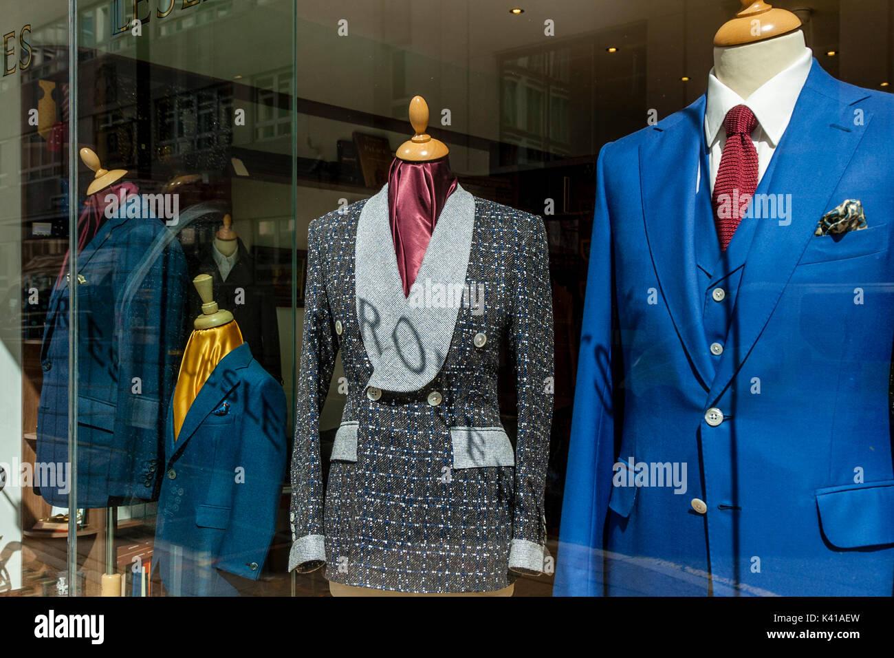Suits On Display In A Savile Row Shop Window, Savile Row, London, UK - Stock Image