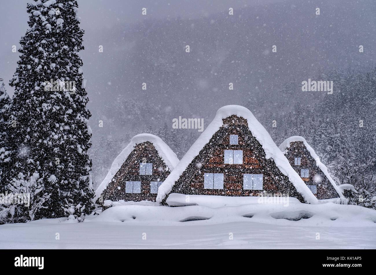Shirakawa Village in winter,Japan - Stock Image