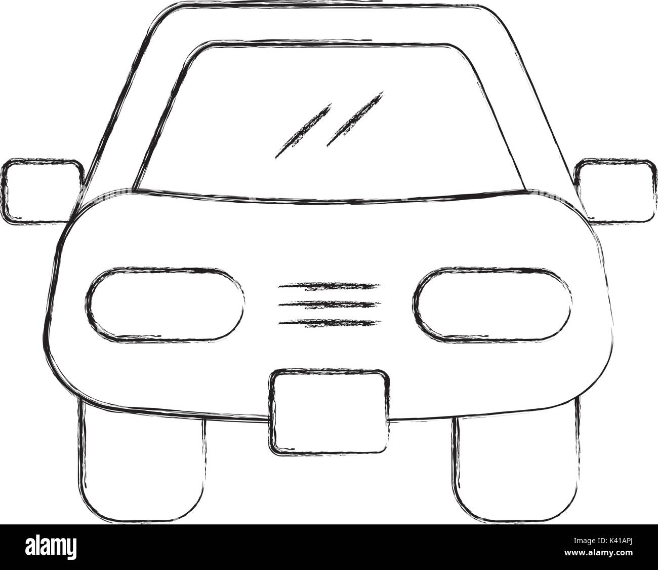 Cartoon Car Vehicle Transport Front View Icon Stock Vector Art