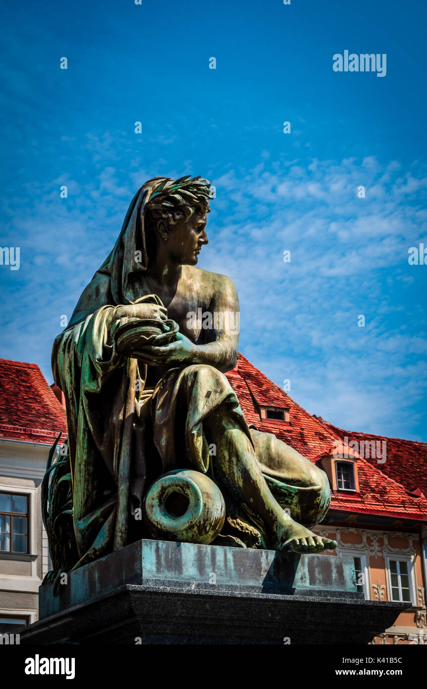 Art and Architecture combined in one statue at the Hauptplatz in Graz - Stock Image