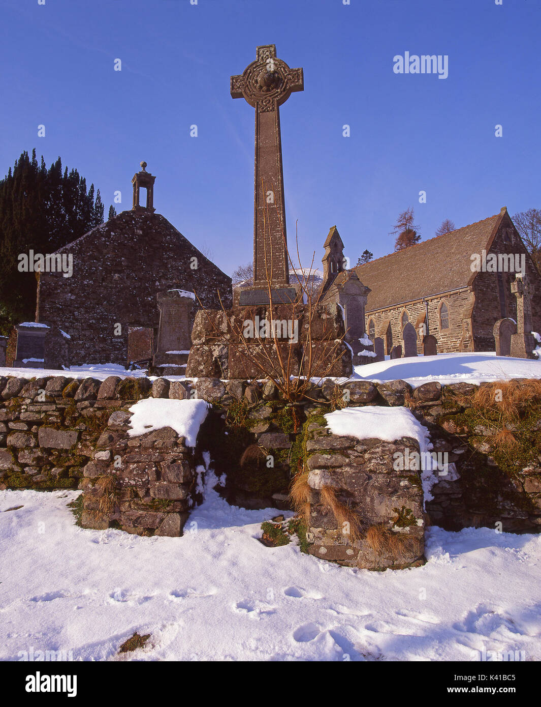 Winter view of Balquhidder Church where Rob Roys grave is located, Stirling, Trossachs Stock Photo