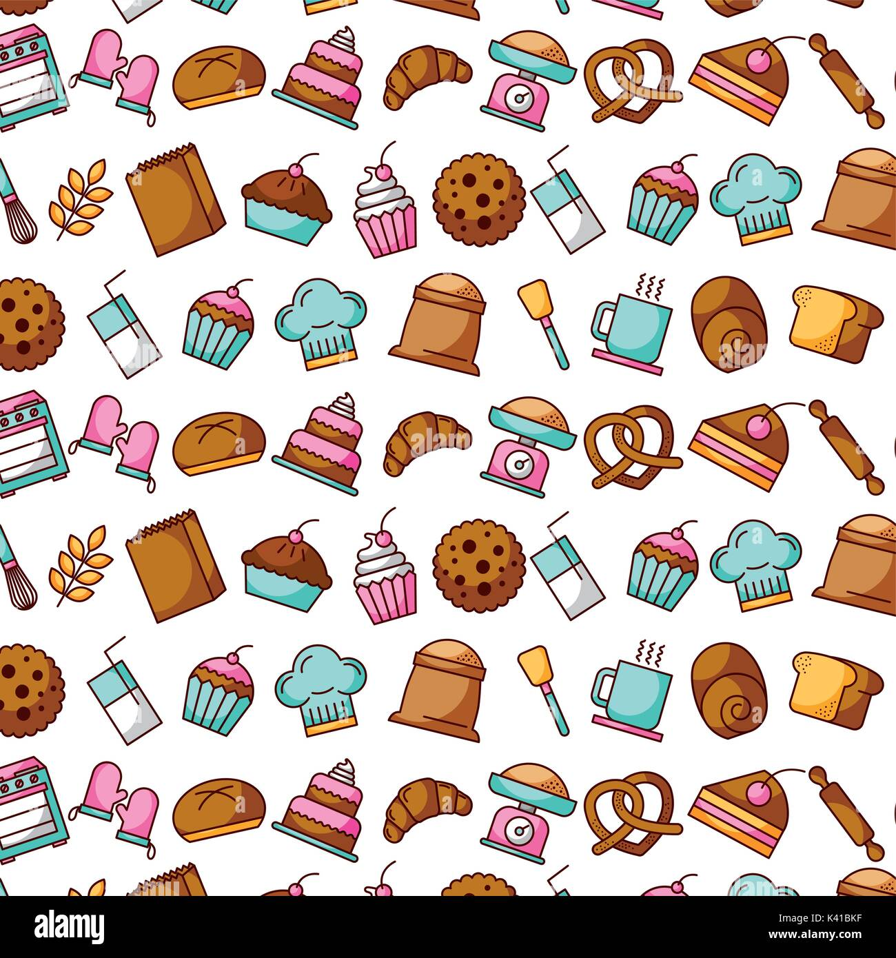 collection food and bakery kitchen seamless pattern Stock Vector Art ...