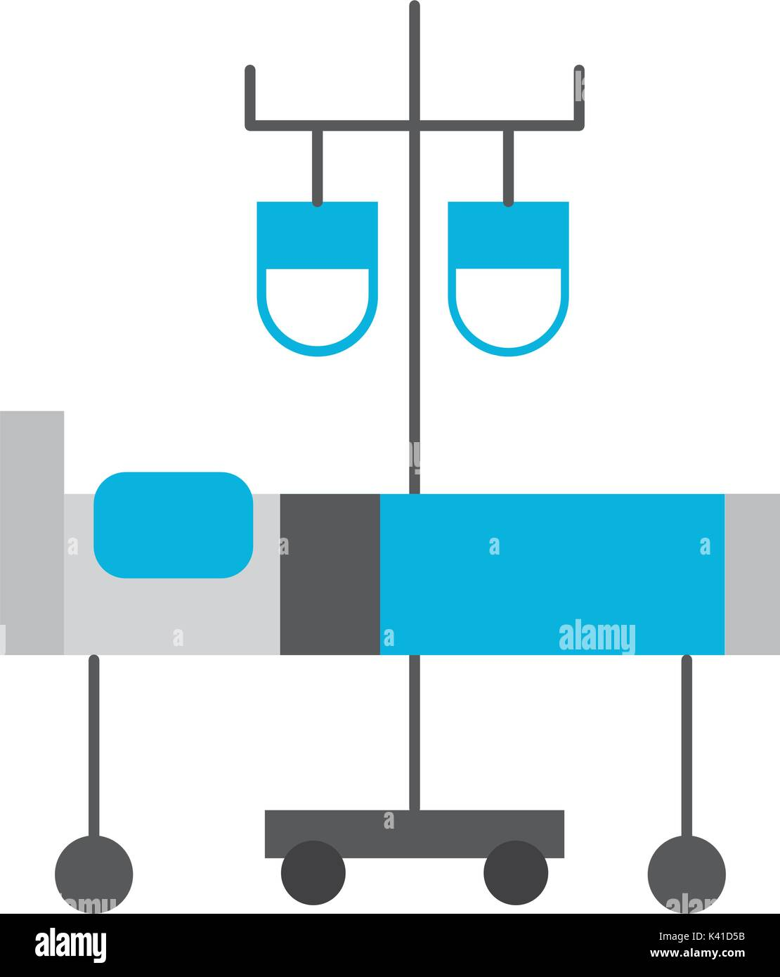 hospital medical bed and iv stand bag medicine - Stock Vector