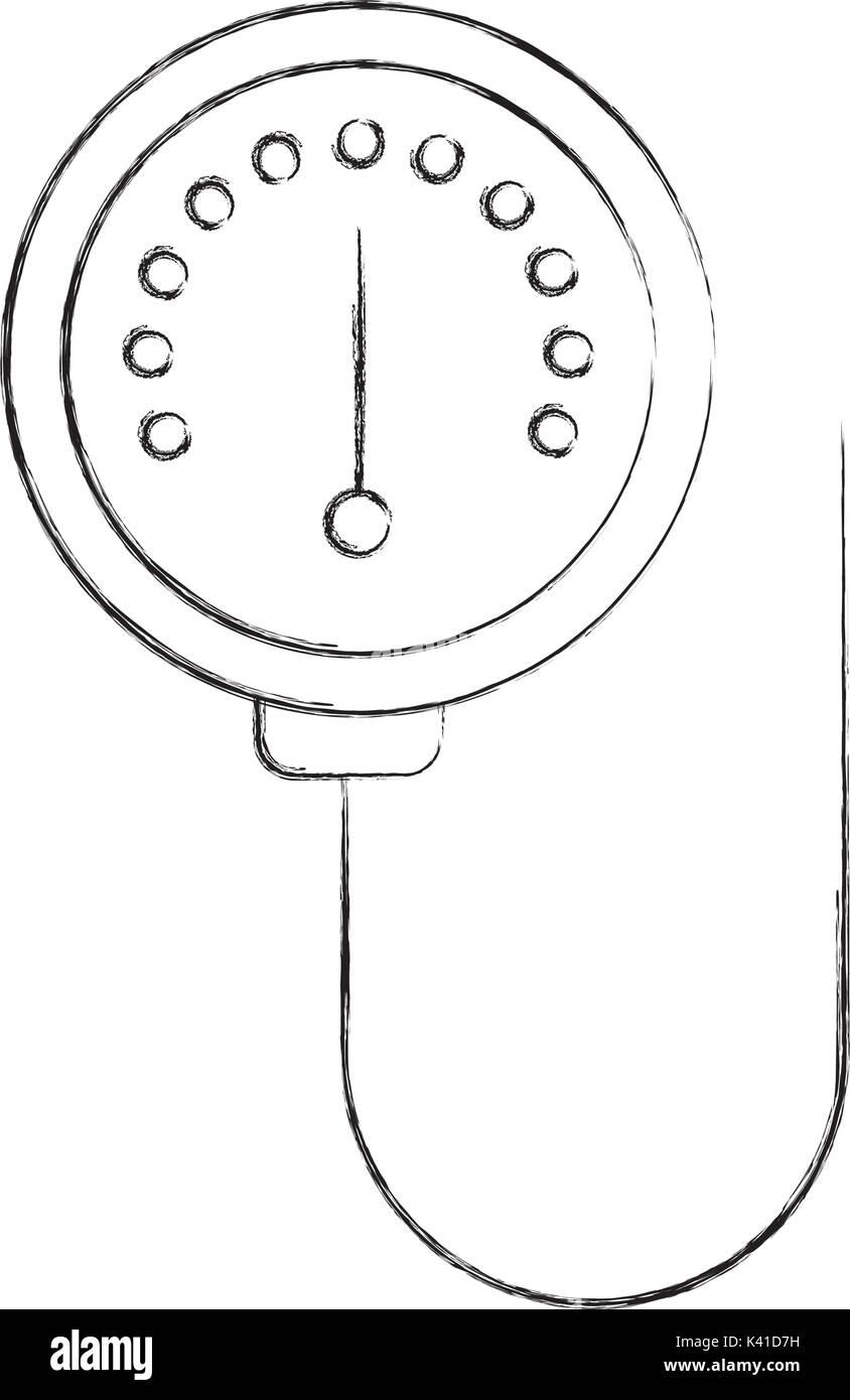 scale of meter device manometer pressure gauge - Stock Image