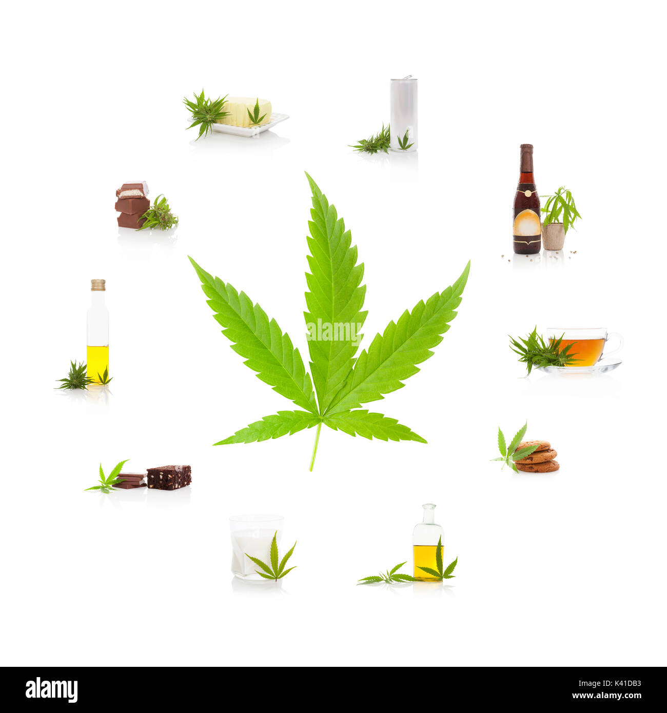Cannabis and its usage. Marijuana leaf and edible marijuana products. Butter, tea, beer, energy drink, oil, chocolate, cookies and milk. - Stock Image