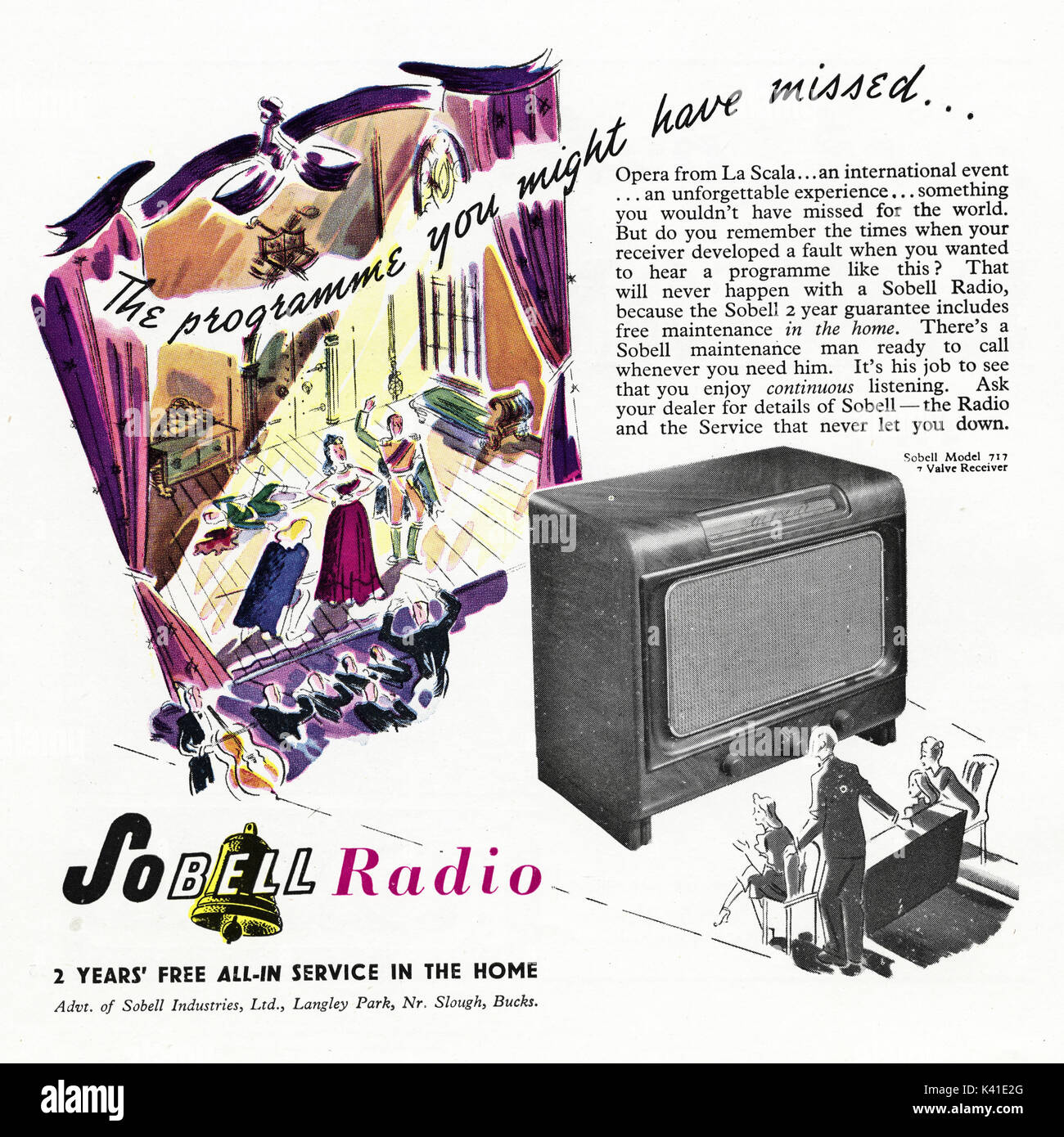 1940s old vintage original advert advertising Sobell Radio in magazine circa 1947 when supplies were still restricted under post-war rationing - Stock Image