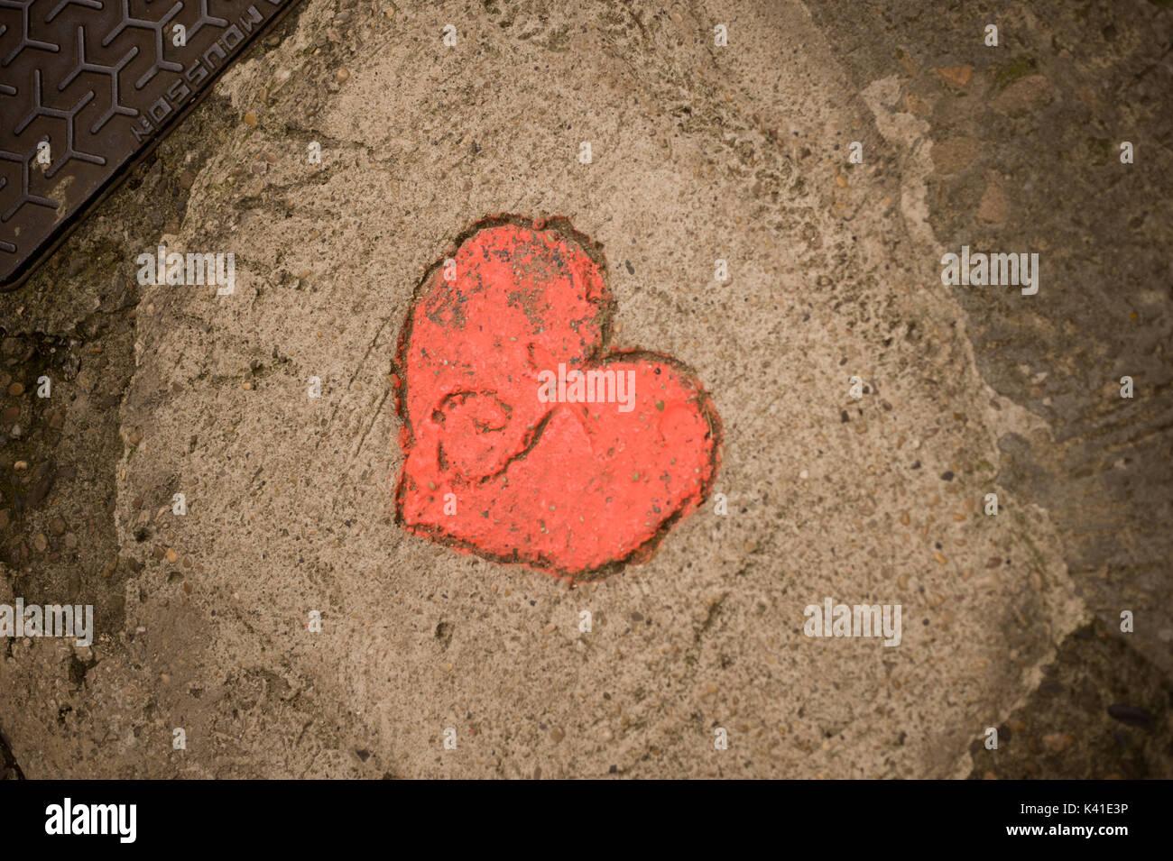 Letter J in red heart on ground, Sarlat, Dordogne, France Stock Photo