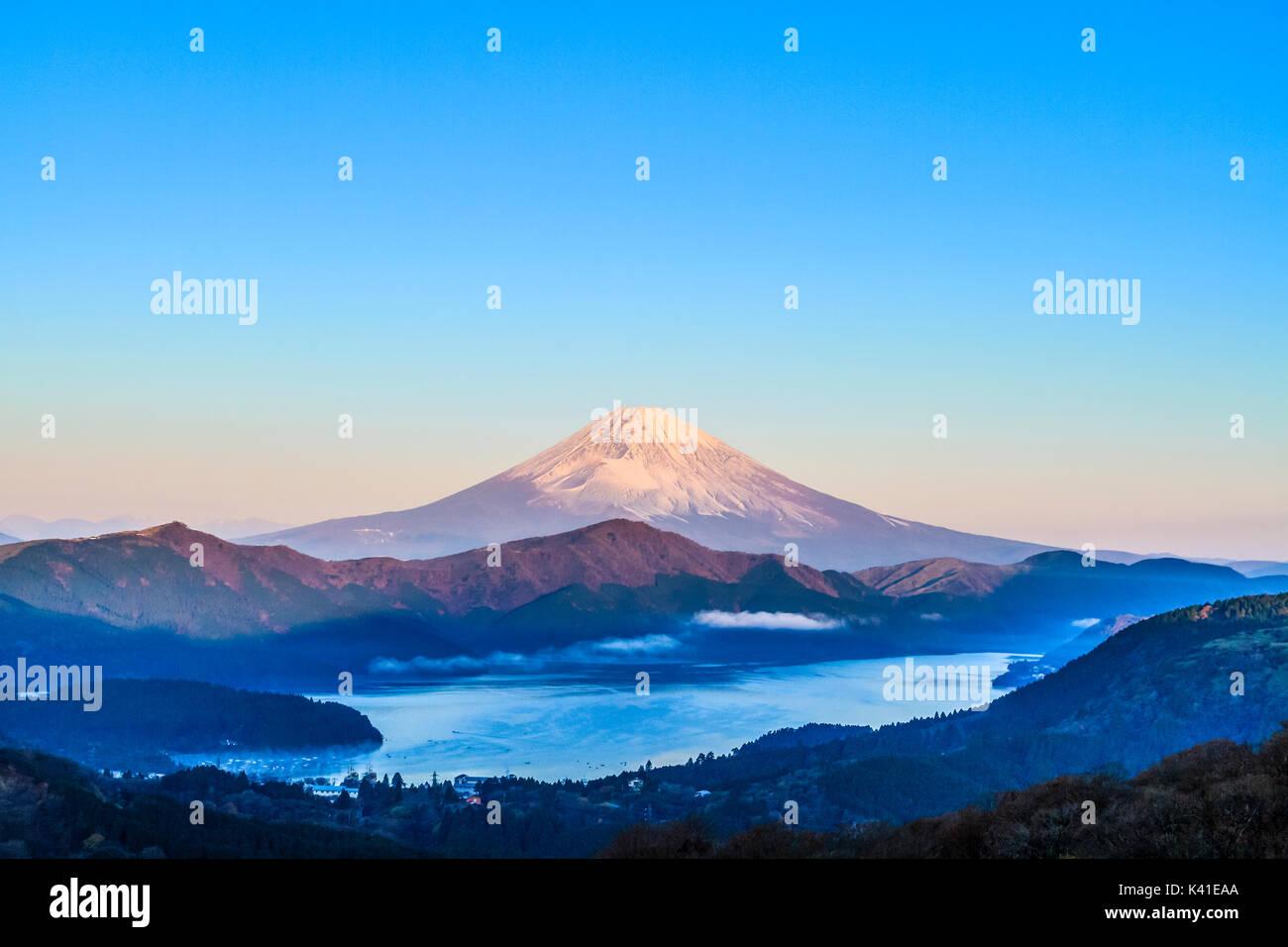 Mt.Fuji and Lake Ashinoko in Japan - Stock Image