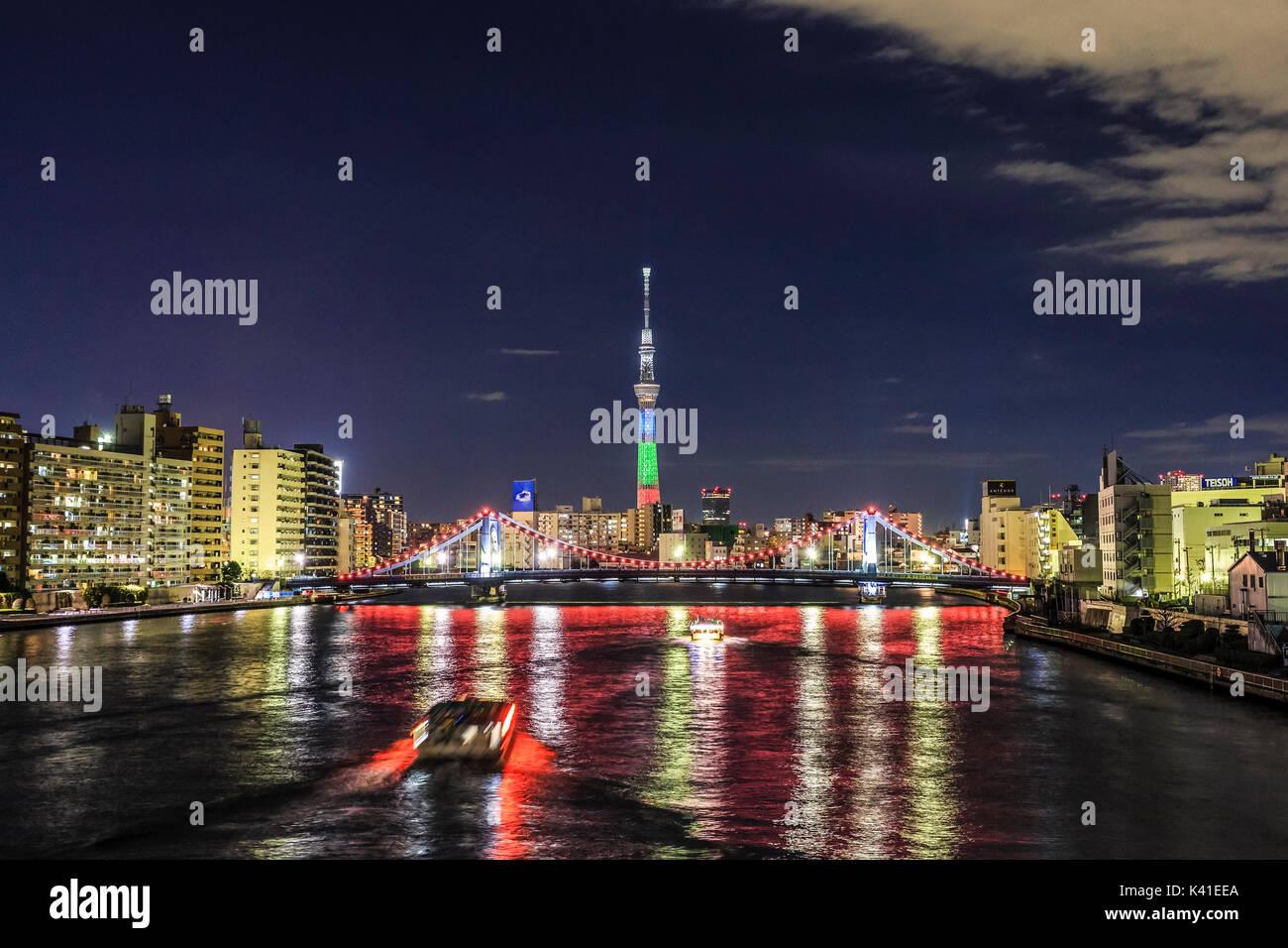 Illuminated Tokyo Skytree Tower in Tokyo,Japan - Stock Image