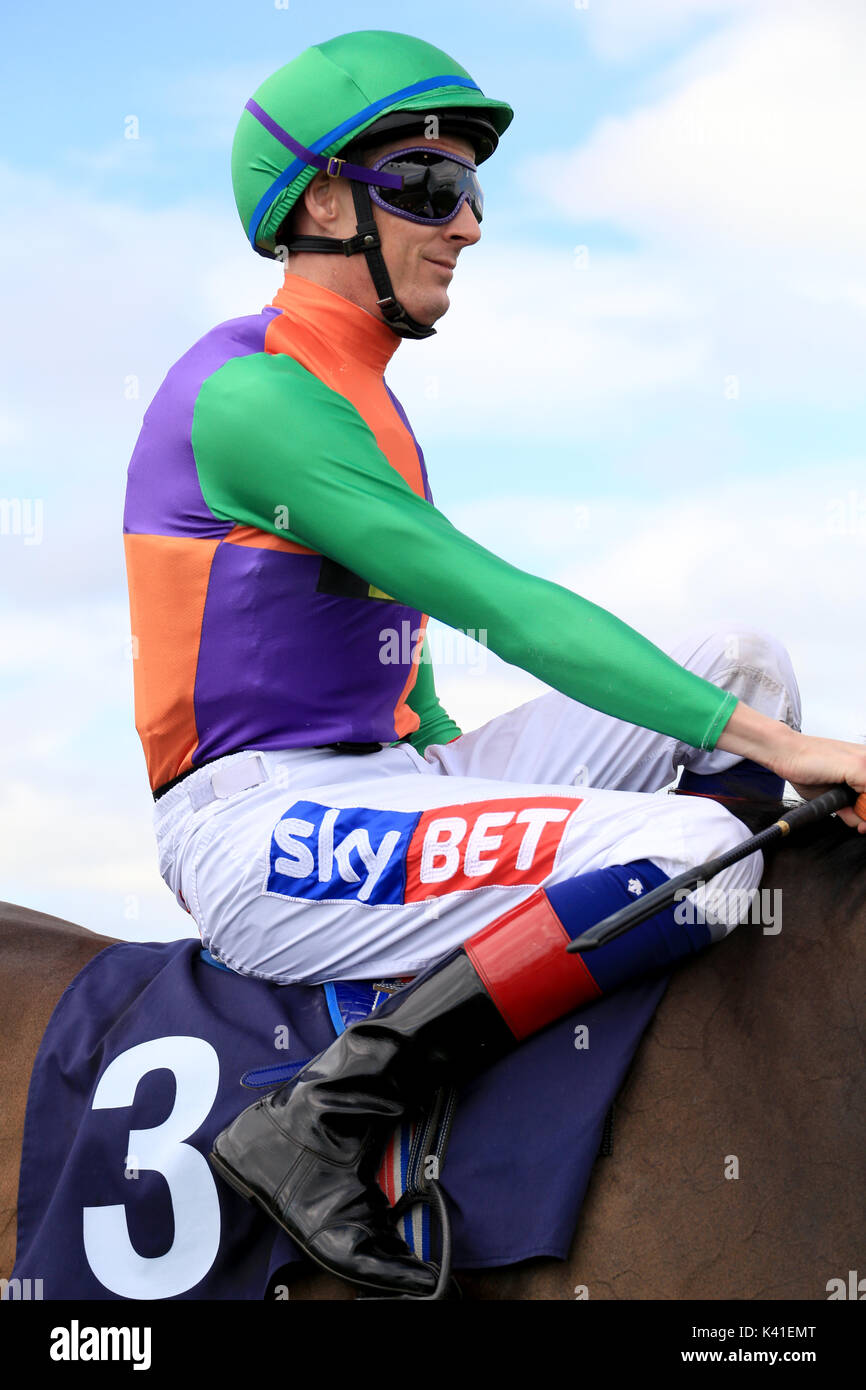 Horse Racing, the jockey Fran Berry,  Riding Upavon, at Brighton races. Route Mobile Handicap 10/8/17 - Stock Image
