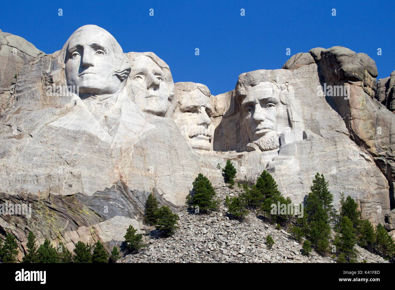 Black Hills in Keystone, South Dakota, United States - August 22, 2017: Mount Rushmore National Memorial is a sculpture carved into the granite face o - Stock Image