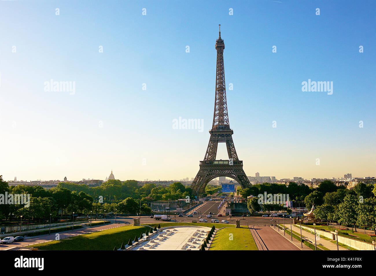 Eiffel Tower seen from Trocadero - Stock Image