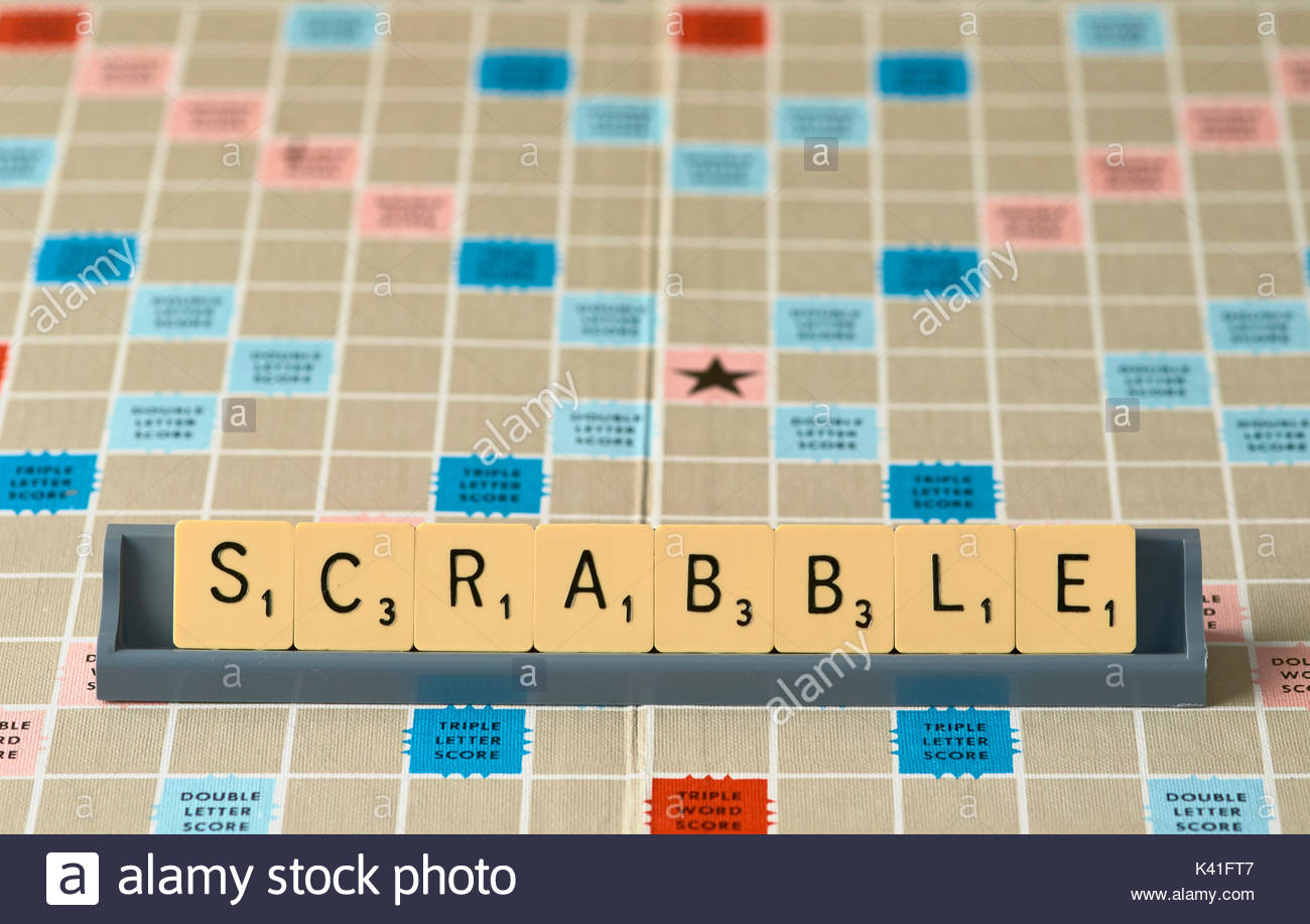 Scrabble board game with letter tiles Stock Photo: 157386327