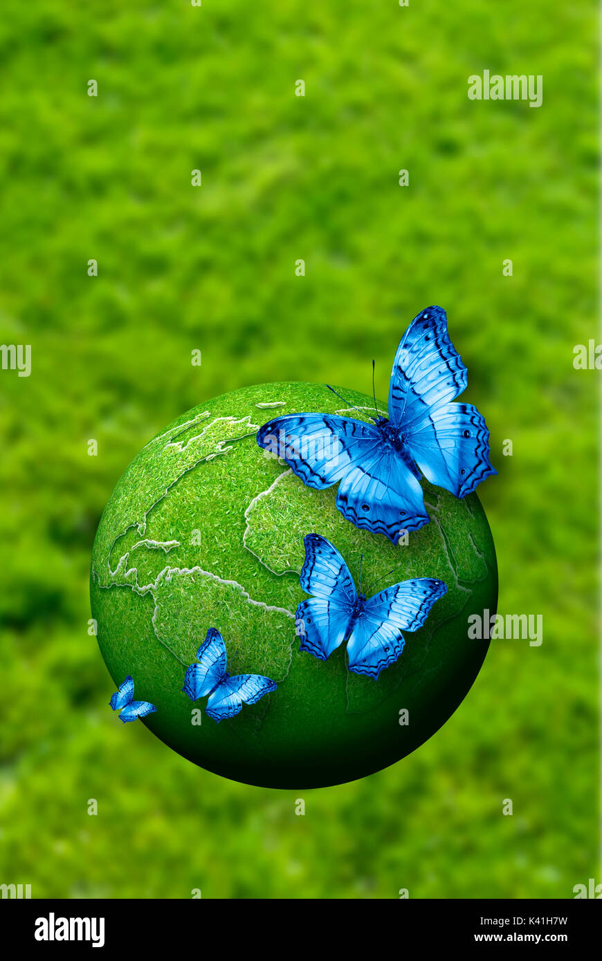butterflies and green earth, ecology concept - Stock Image