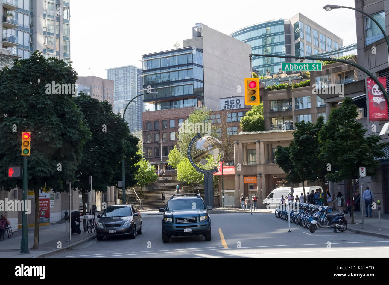 Vancouver, British Columbia Canada, June 26, 2017: The International Village or Crosstown is bordered by Chinatown. - Stock Image