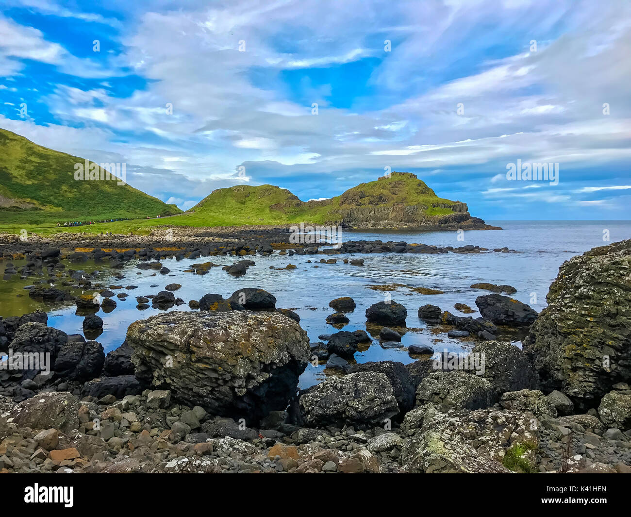 Beautiful scenery at Giants Causeway in Northern Ireland in the county of Antrim in the United Kingdom, Europe - Stock Image