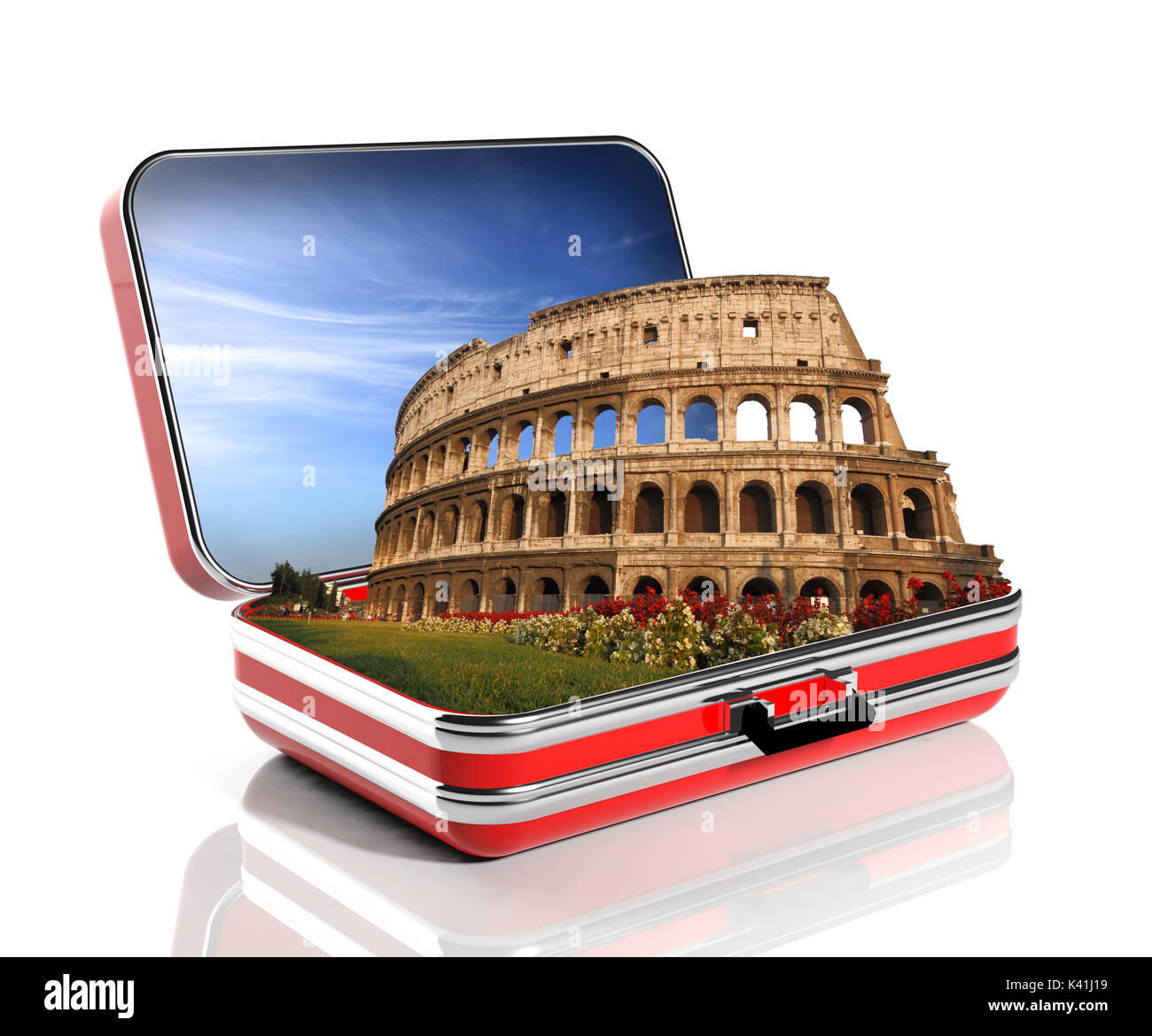 The Colosseum of Rome in a travel suitcase - Stock Image