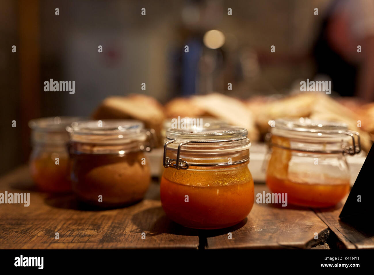 craft jam or sauce at grocery store - Stock Image