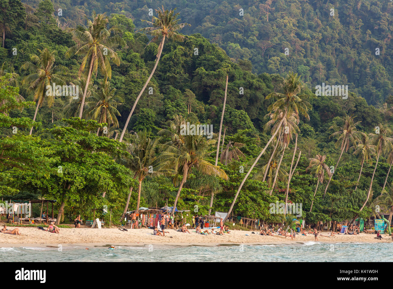Koh Chang, Thailand - March 19, 2017: Lonely beach on Koh Chang island during sunset in Thailand - Stock Image