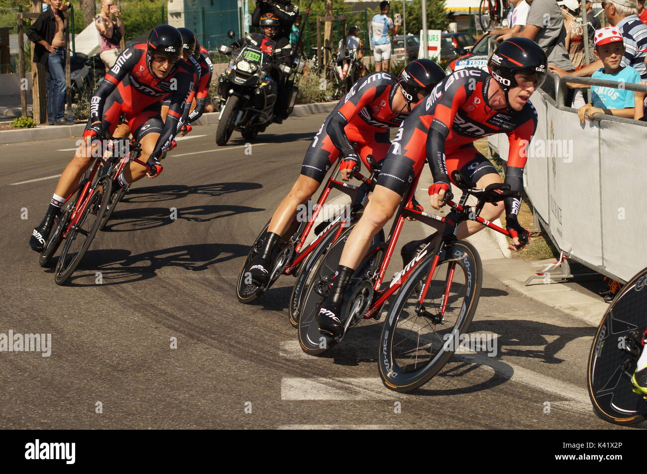 NICE - JULY 2ND : The TOUR 2013  (Tour de France) .BMC Racing Team during Nice/Nice Stage 4 (25 km). - Stock Image